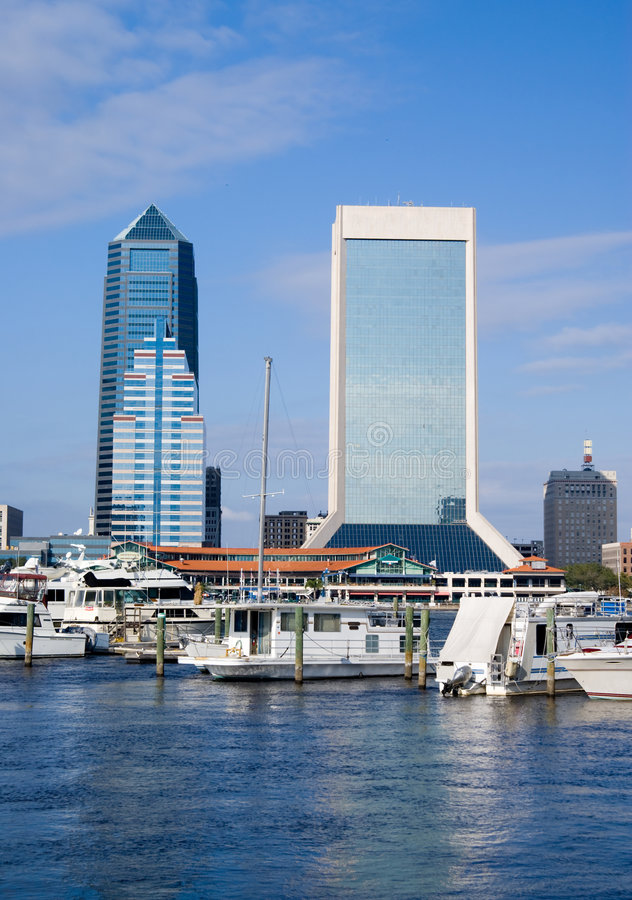 Jacksonville Florida. Scenic View of Jacksonville Florida from from marina district stock photos