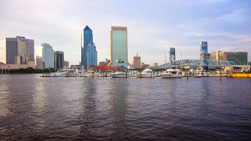 Jacksonville, Florida City Skyline Across St. John`s River stock images