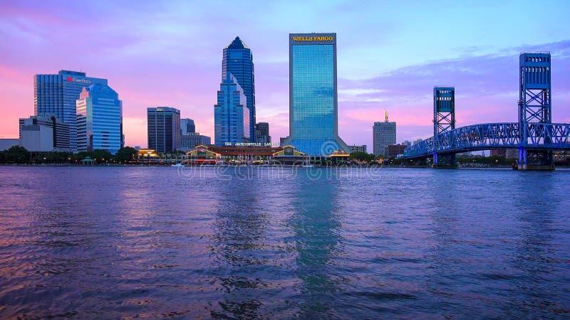 Jacksonville, Florida City Skyline at Sunset Over the St. John`s stock images