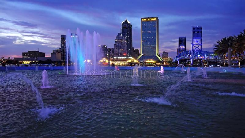 Jacksonville, Florida City Skyline and Water Fountain stock photos
