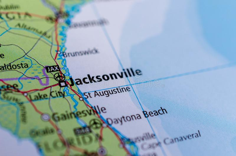 Jacksonville, Florida on map stock image
