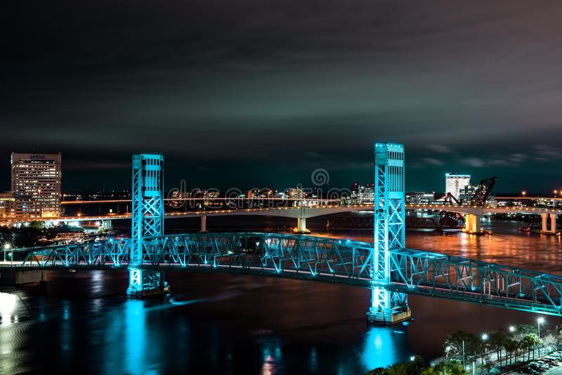 Jacksonville Florida at Night with bridge. A night photography shot of a bridge in Jacksonville Florida royalty free stock photography