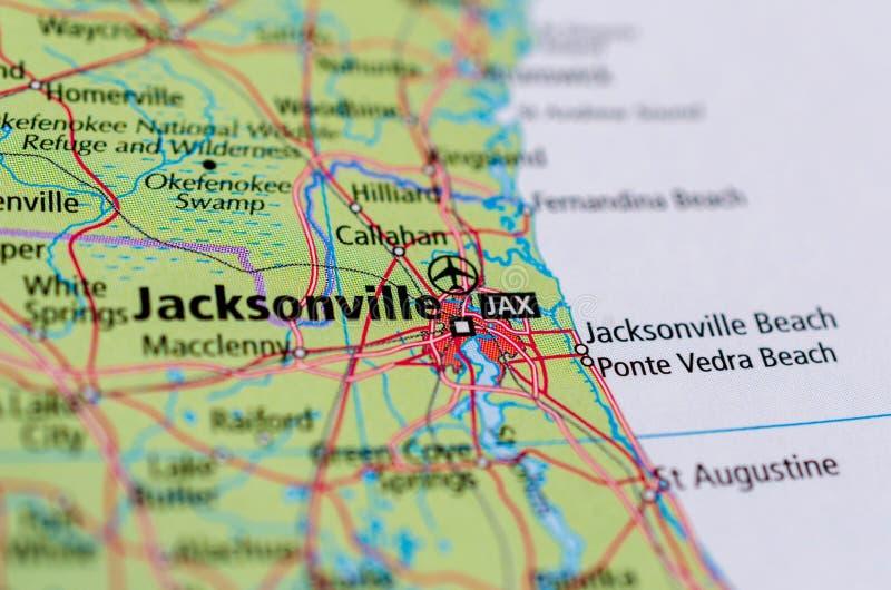Jacksonville, Florida no mapa fotografia de stock
