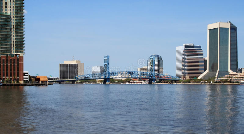 Jacksonville Florida Skyline. And the St Johns River royalty free stock images
