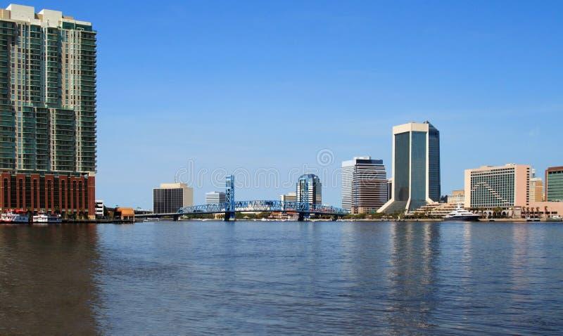 Jacksonville Florida Skyline. Along the river stock images