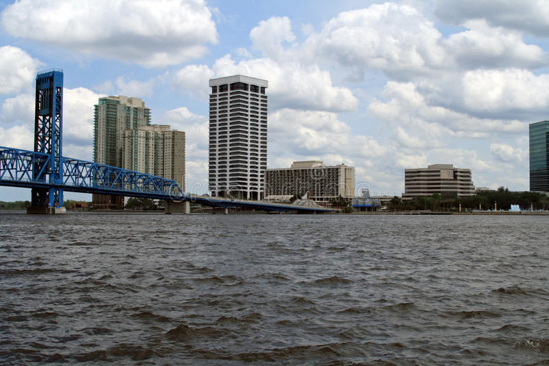 Jacksonville Florida Skyline. And the St Johns River stock photography