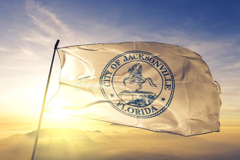 Jacksonville of Florida of United States flag waving on the top. Jacksonville of Florida of United States flag waving stock image