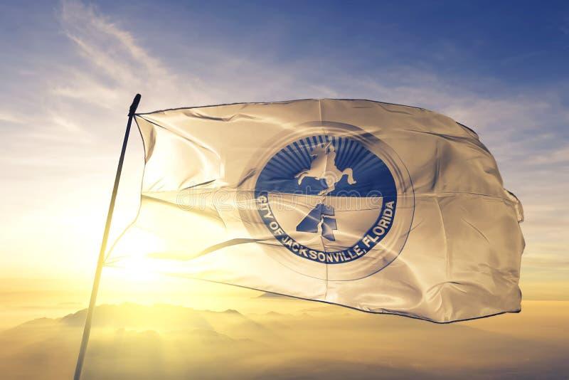 Jacksonville of Florida of United States flag waving on the top. Jacksonville of Florida of United States flag waving stock photo