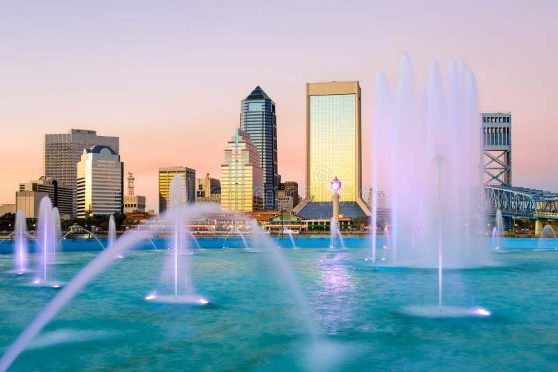 Jacksonville, Floryda fontanny linia horyzontu obraz stock
