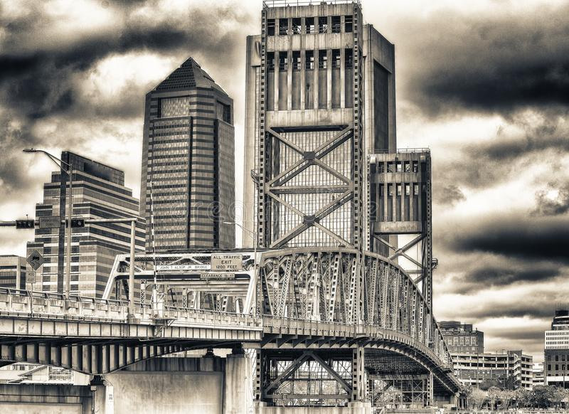 Jacksonville skyline with bridge and buildings on a overcast day.  stock image