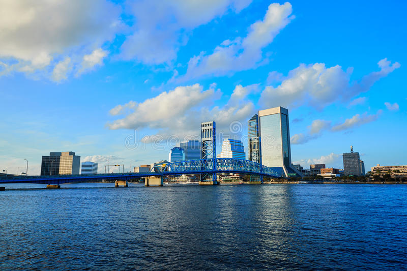 Jacksonville skyline evening in florida USA royalty free stock photo