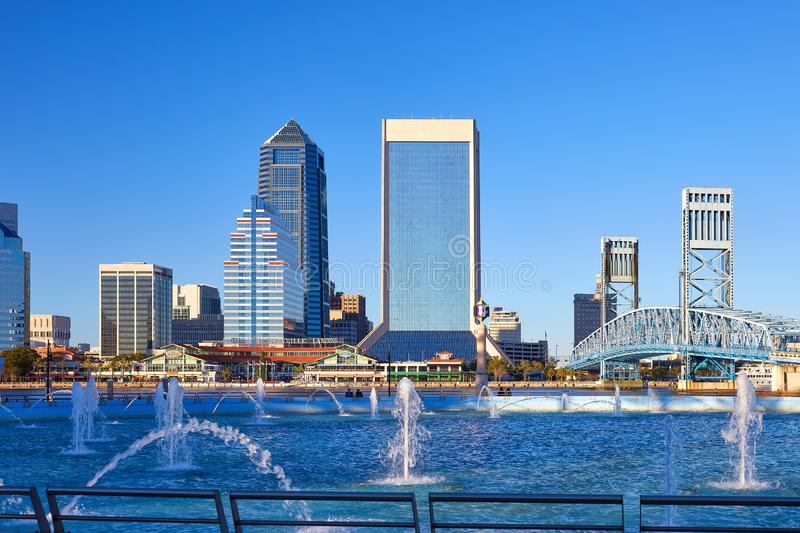 Jacksonville Skyline and Friendship Fountain royalty free stock images