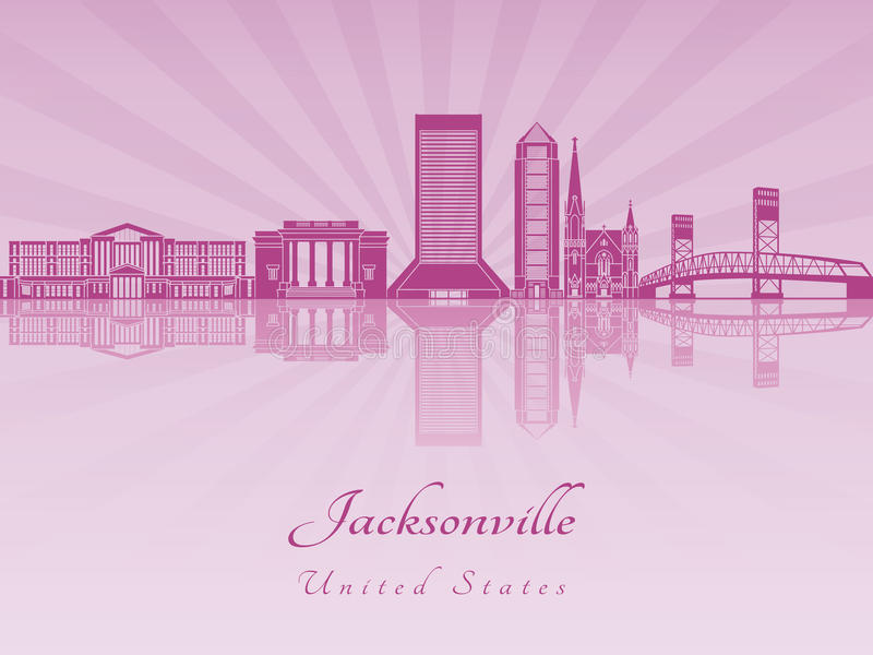 Jacksonville skyline in purple radiant orchid. In editable vector file stock illustration