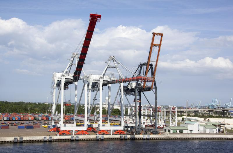 Jacksonville Town Port Cranes royalty free stock images