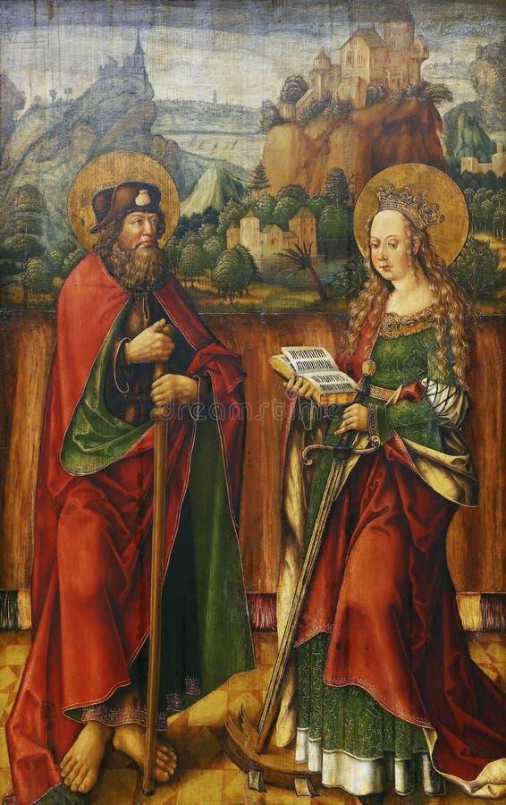 Jacob Cornelisz van Oostsanen: St James Elder e Catherine de Alexandria fotografia de stock