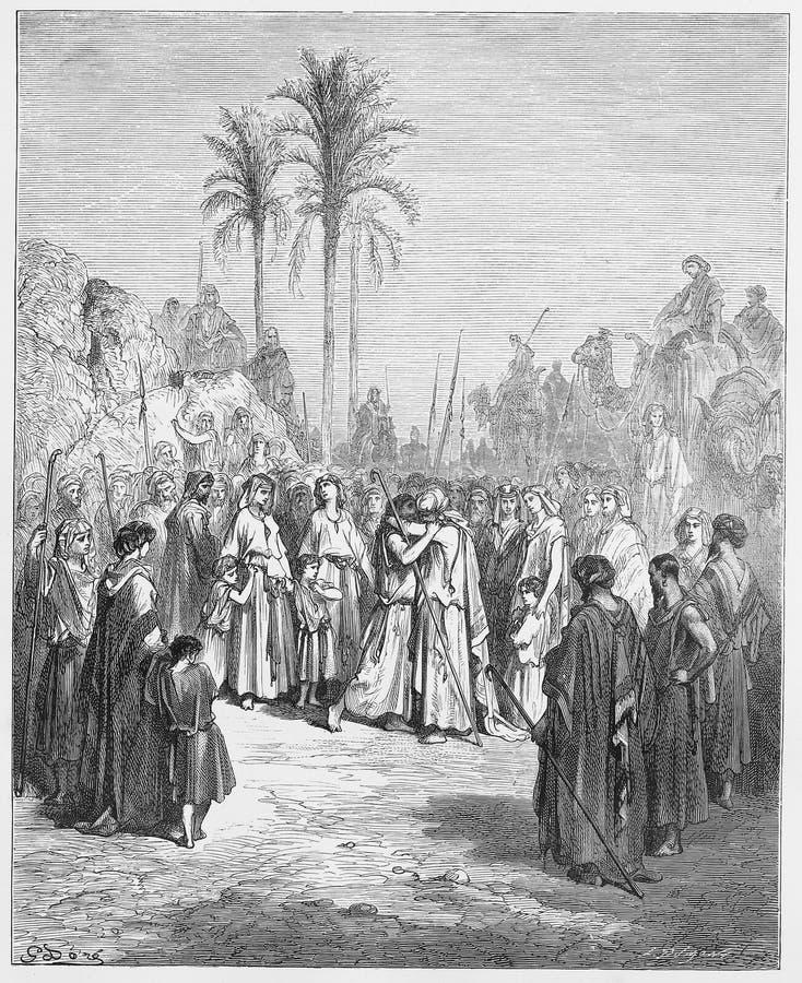 Jacob en Esau komen opnieuw samen vector illustratie