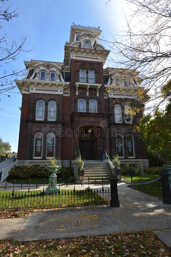 Jacob Henry Mansion. This is a picture of the Jacob S. Henry Mansion in Joliet, Illinois. Henry was a railroad magnate. This forty room home built in 1873 is royalty free stock photos