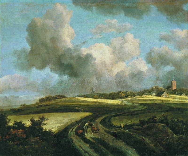 Jacob Isaacksz van Ruisdael - camino a través de campos del maíz cerca del Zuider Zee, 1660-62 imágenes de archivo libres de regalías
