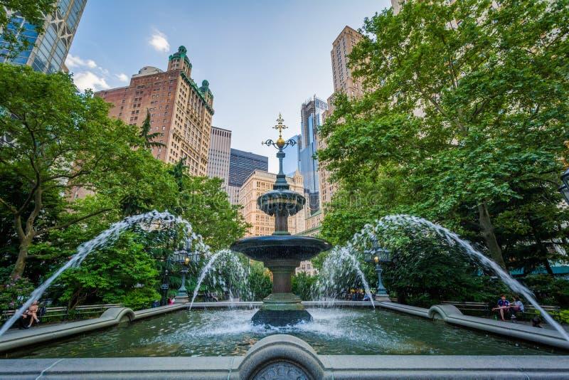 Jacob lejni fontanna przy urząd miasta parkiem w lower manhattan, Miasto Nowy Jork obraz stock