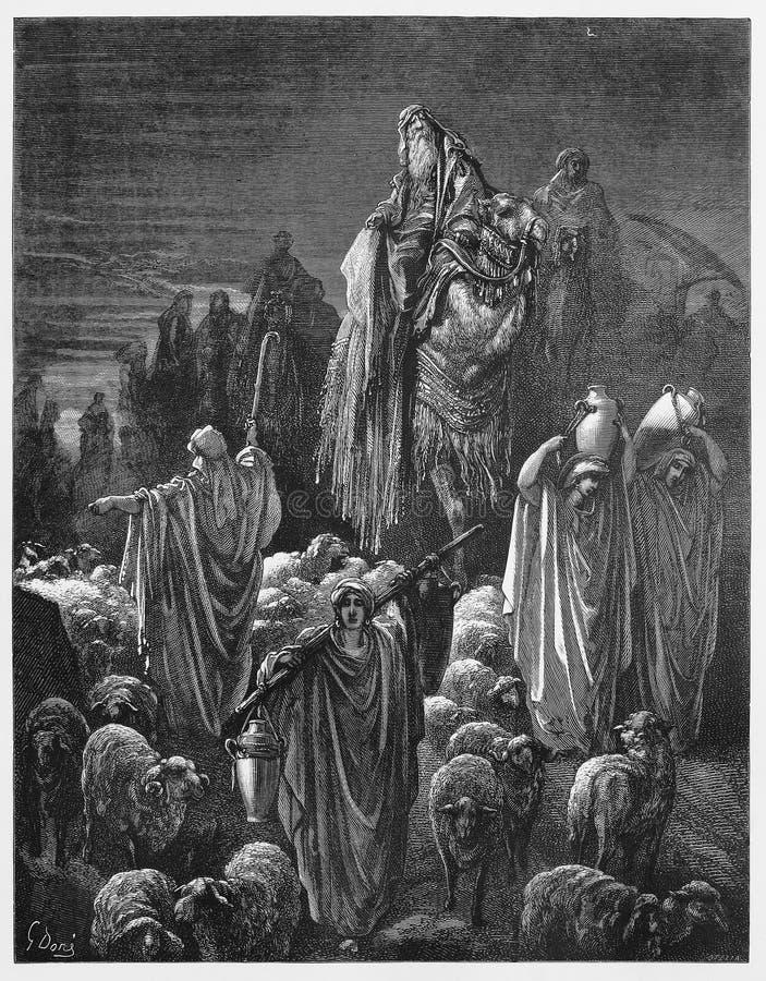 Jacob naar Egypte wordt verplaatst dat vector illustratie