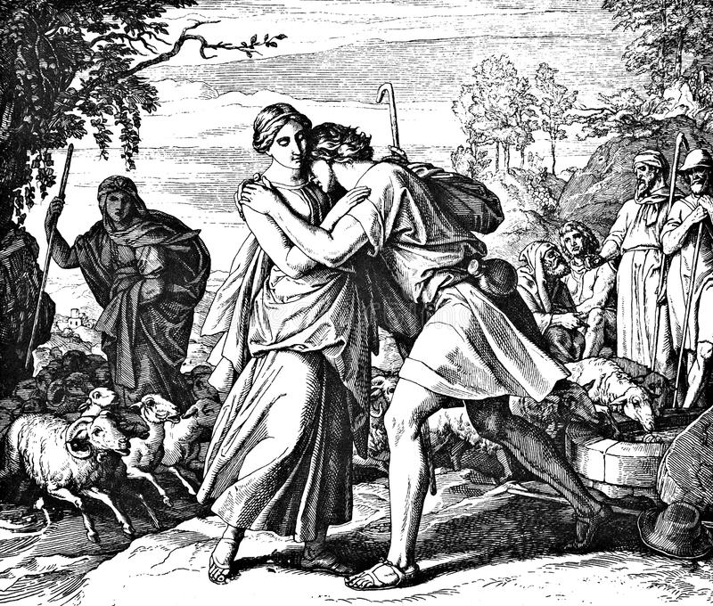 Jacob and Rachel. 1) Sacred-biblical history of the old and New Testament. two Hundred and forty images Ed. 3. St. Petersburg, 2) 1873. 3) Russia 4) Julius stock photos