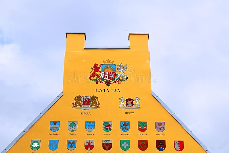 Jacob`s Barracks building showing coats of arms for Latvian parishes, Tornu Street, old town, Riga, Latvia royalty free stock photos