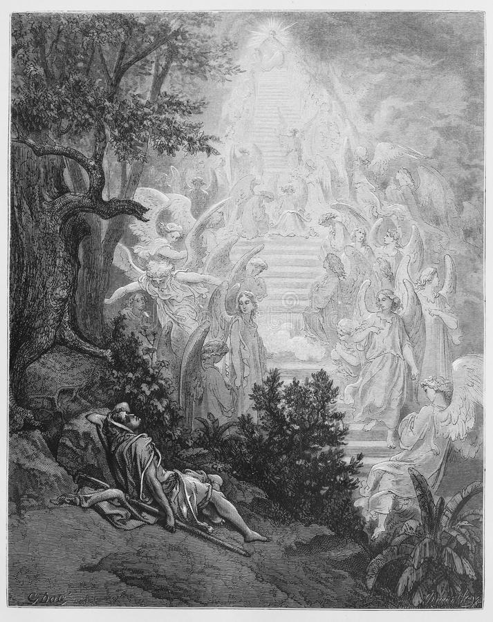 Jacob's dream. Picture from The Holy Scriptures, Old and New Testaments books collection published in 1885, Stuttgart-Germany. Drawings by Gustave Dore