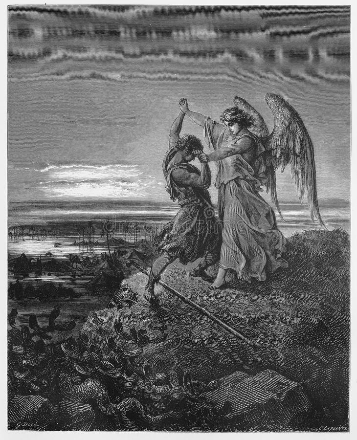 Jacob wrestles with the angel. Picture from The Holy Scriptures, Old and New Testaments books collection published in 1885, Stuttgart-Germany. Drawings by
