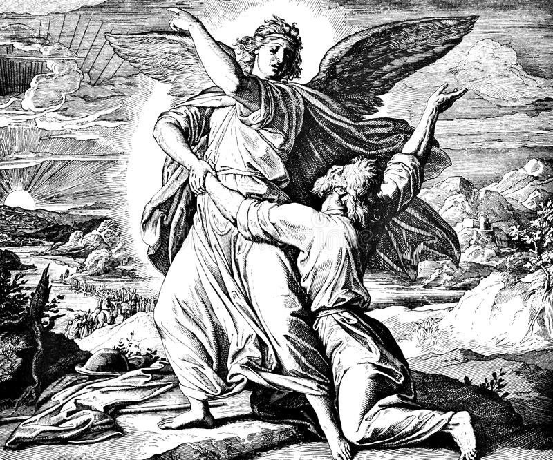 Jacob Wrestles With Angel. 1) Sacred-biblical history of the old and New Testament. two Hundred and forty images Ed. 3. St. Petersburg, 2) 1873. 3) Russia 4) stock photography