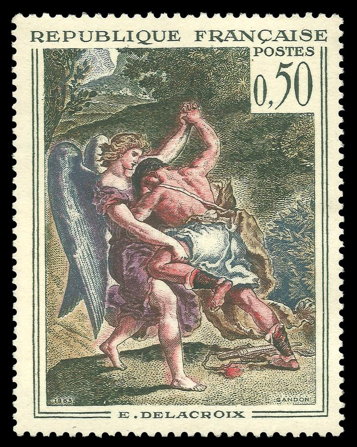 Jacob Wrestling met de Engel door Delacroix royalty-vrije stock fotografie