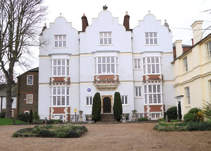 Jacobean manor house. Built in the early 1600s, Eagle House in Wimbledon Village, London, is a fine example of Jacobean architecture and is a Grade II listed stock photography