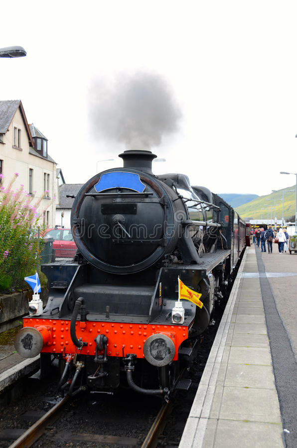 Jacobite steam train at Fort William station. royalty free stock image