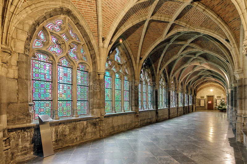 Paul's hall. Beautiful view of the interior of the St. Paul's cathedral cloister in Liege, Belgium stock photos