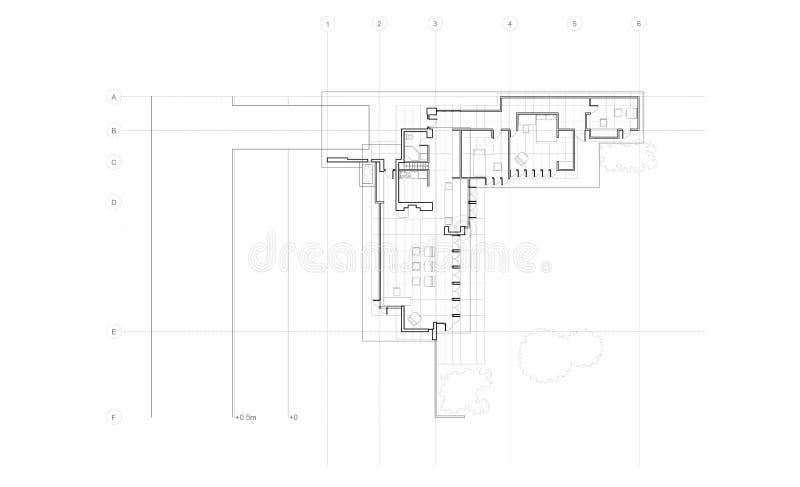 jacobs szczegółowy domowy plan royalty ilustracja