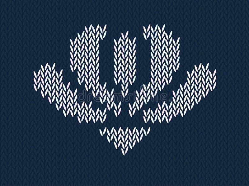Jacquard gebreid patroon met witte bloem op blauwe achtergrond vector illustratie