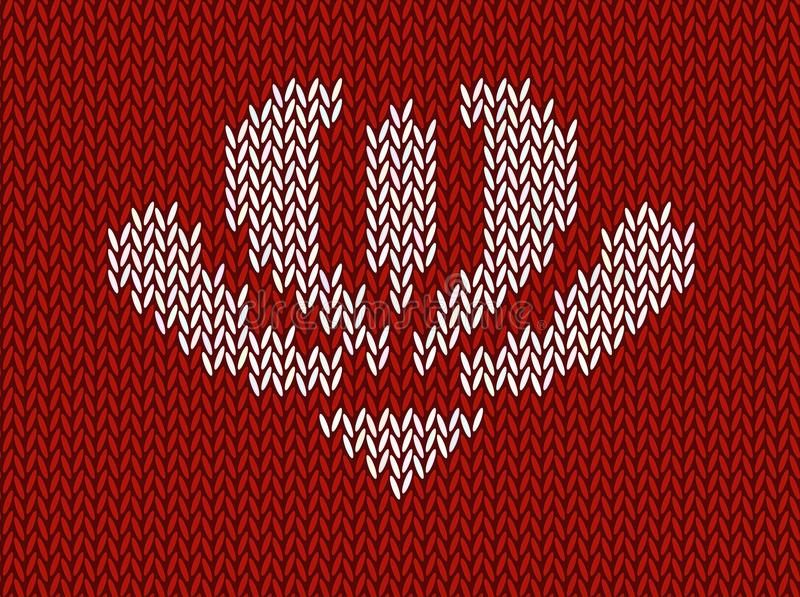 Jacquard gebreid patroon met witte bloem op rode achtergrond royalty-vrije illustratie