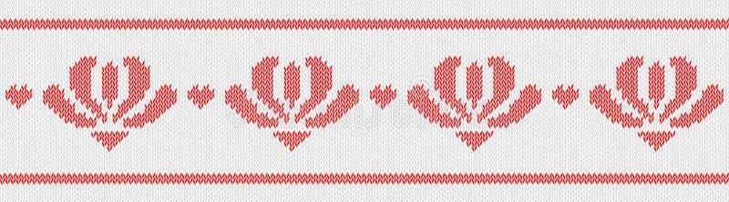 Jacquardwol gebreid patroon met rode bloemen op witte achtergrond vector illustratie
