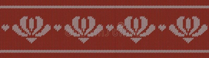 Jacquardwol gebreid patroon met witte bloemen op rode achtergrond vector illustratie
