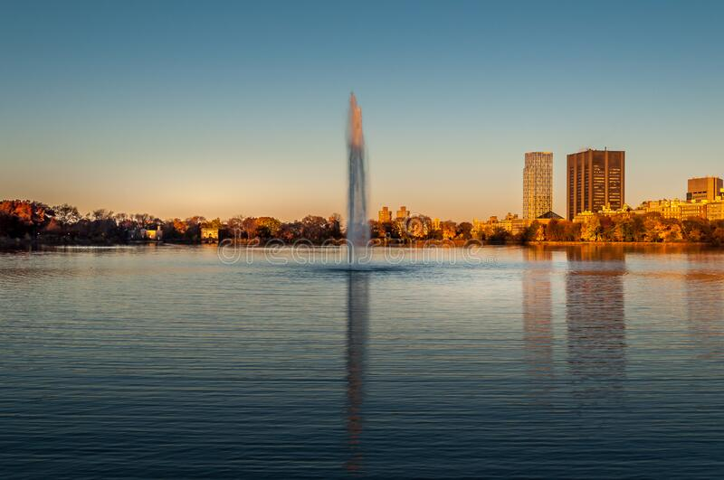 Jacqueline Kennedy Onassis Reservoir lake in the sunset light. stock photography