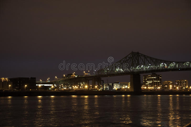 Jacques Cartier Bridge. A view of the Jacques Cartier Bridge in Montreal in the evening stock image