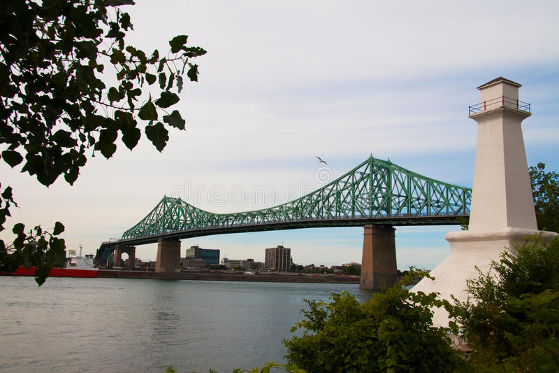Jacques Cartier bridge. Spanning over the Saint Lawrence river stock photo