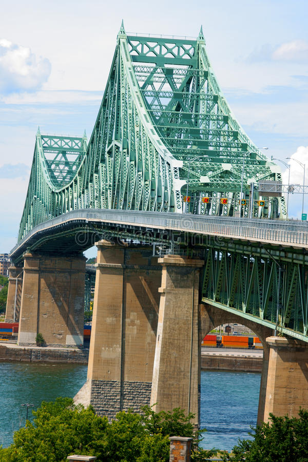 Jacques Cartier Bridge. Crossing Saint Lawrence river in Montreal stock images