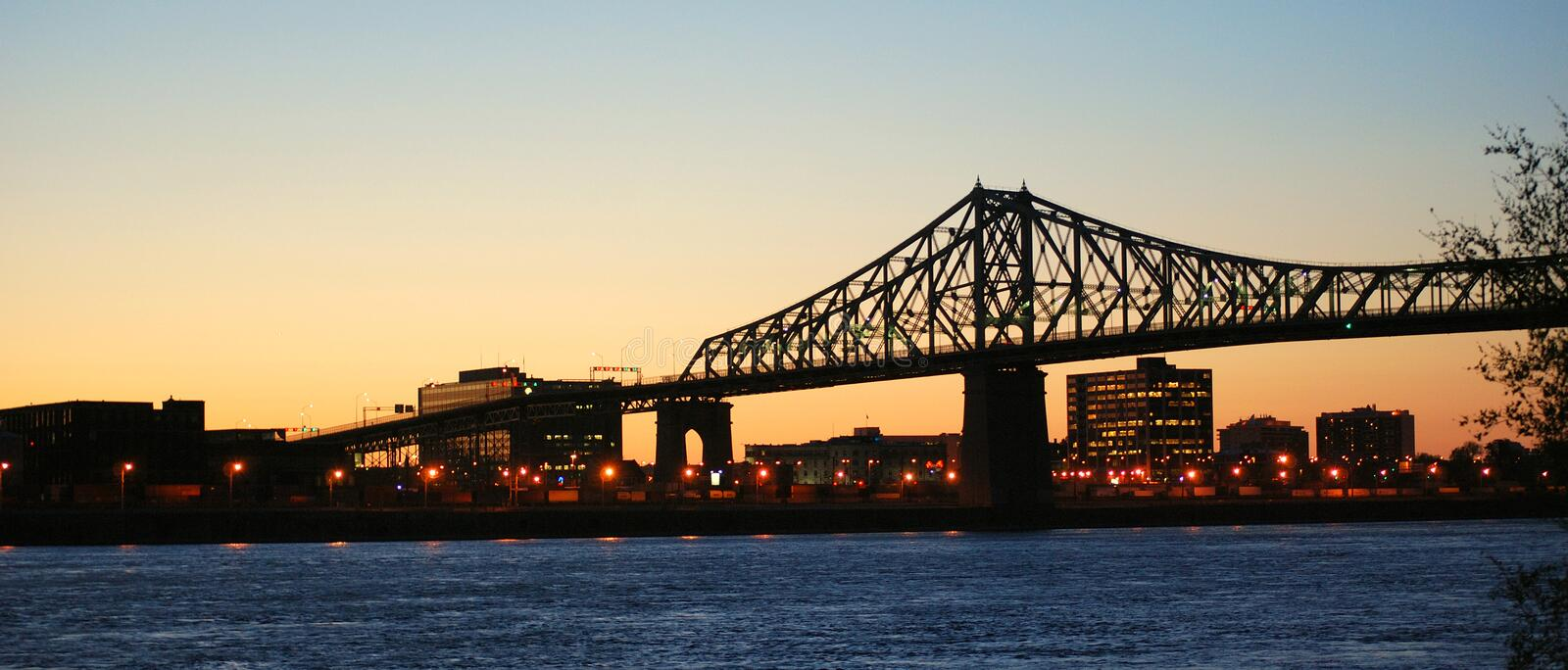 Jacques Cartier bridge. With a sunset stock images