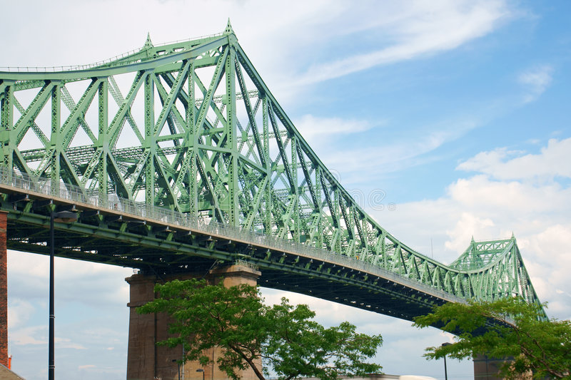 Jacques Cartier bridge. Crossing Saint Lawrence river in Montreal royalty free stock photo