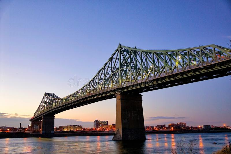 Jacques-Cartier bridge at dusk royalty free stock photography