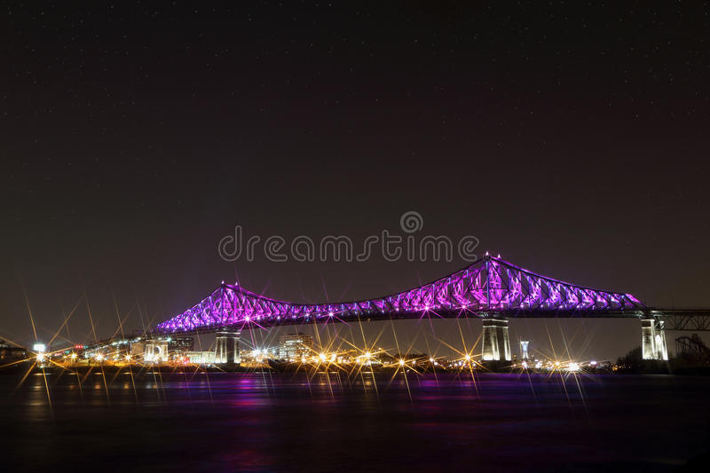 Download Jacques Cartier Bridge Illumination In Montreal. Montreal's 375th Anniversary. Luminous Colorful Interactive Stock Image - Image of colorful, laurent: 94581089