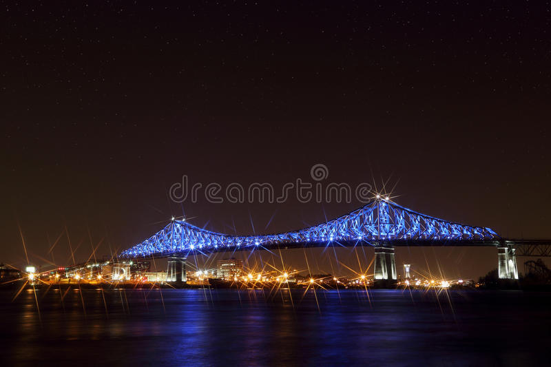 Jacques Cartier Bridge Illumination in Montreal. Montreal's 375th anniversary. luminous colorful interactive. Jacques Cartier Bridge Illumination in royalty free stock images