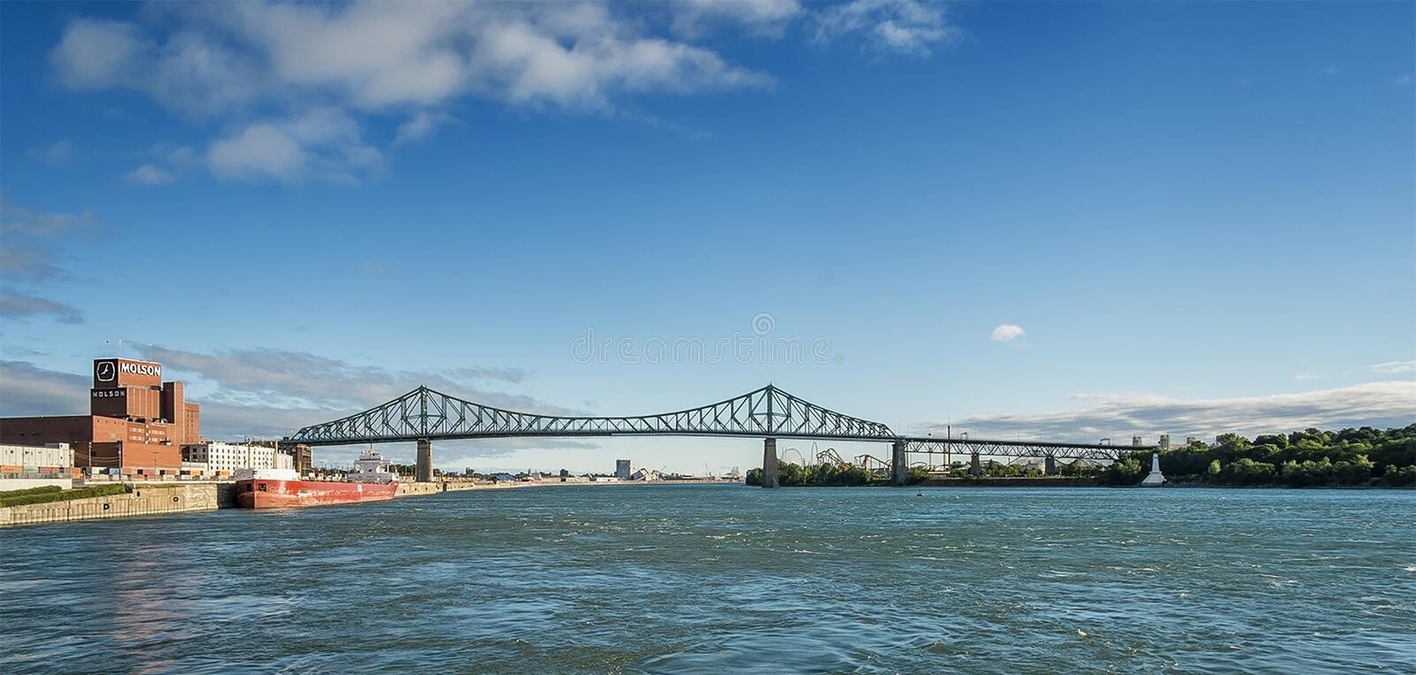 Jacques Cartier bridge. And Molson brewery as seen from Old Port Montreal, Quebec, Canada stock images
