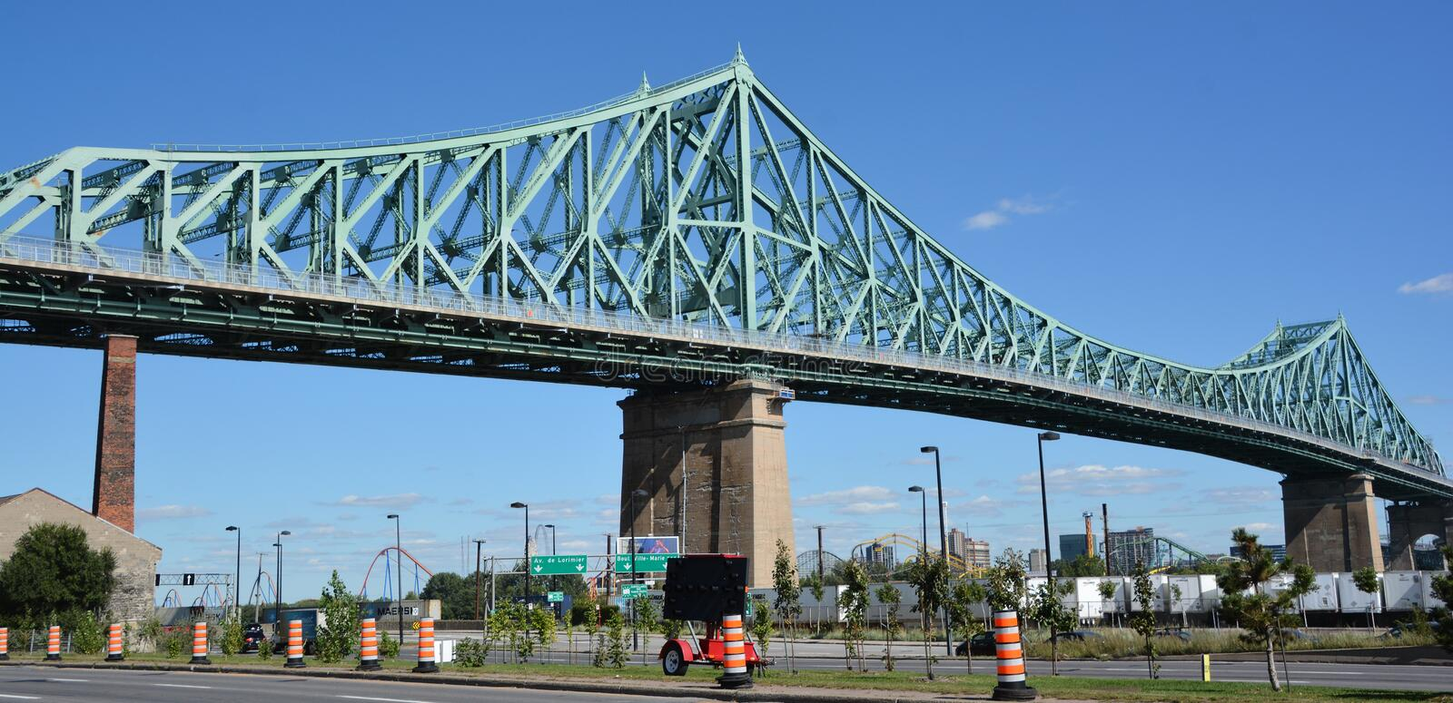 The Jacques Cartier Bridge. MONTREAL CANADA 09 17 2016:The Jacques Cartier Bridge is a steel truss cantilever bridge crossing the Saint Lawrence River from stock photos
