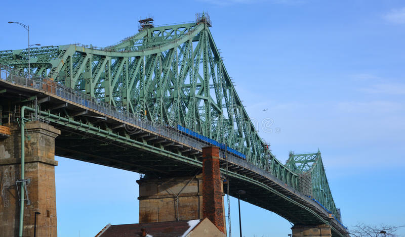 The Jacques Cartier Bridge. MONTREAL CANADA 02 13 2016:The Jacques Cartier Bridge is a steel truss cantilever bridge crossing the Saint Lawrence River from stock image